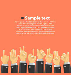 Group of hands in the top vector