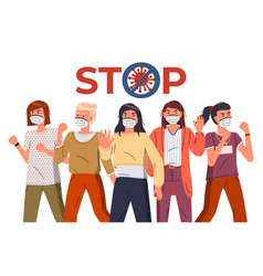 Group women protesting against virus stop vector