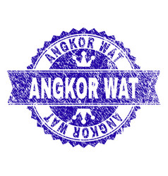 Grunge textured angkor wat stamp seal with ribbon vector
