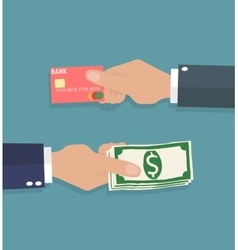 Hands with credit card and cash vector