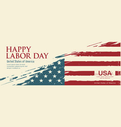 Happy labor day flag america brush vector
