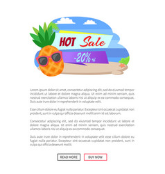 hot sale 20 percent off summer sticker pineapple vector image