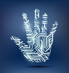 human hand in the form of a computer chip vector image