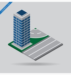 isometric city - road with skyscraper vector image