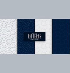 Japanese sashiko pattern set in gray and indigo vector