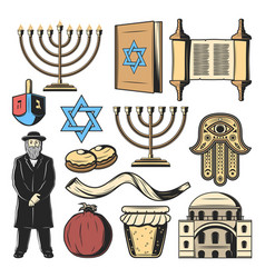 Jewish religion symbols israel culture tradition vector