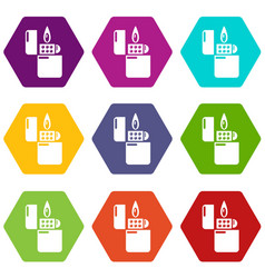 lighter icons set 9 vector image