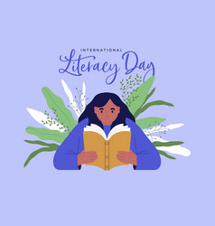 Literacy day girl reading book green plant leaf vector