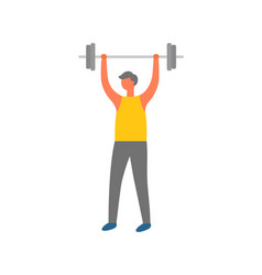 man lifting weight fitness workout and sport vector image