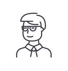 man student looking with glasses line icon vector image