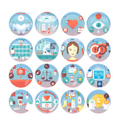 Medical flat circle icons set kinds of medica vector