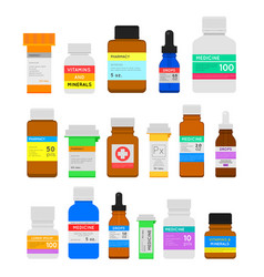 medicine bottles flat set vector image