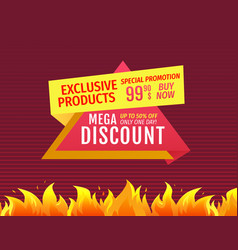 mega discount up half price off special promotion vector image