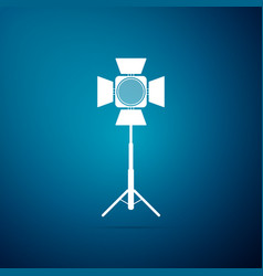 movie spotlight icon isolated on blue background vector image