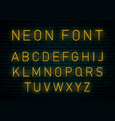 neon yellow font vector image