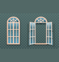 open and closed windows isolated woodens frames vector image