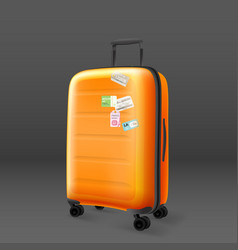 orange travel bag on grey background travel vector image