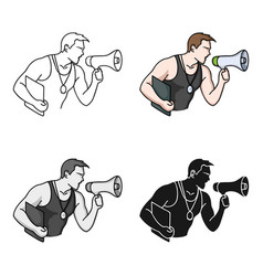 personal trainer icon in cartoon style isolated on vector image