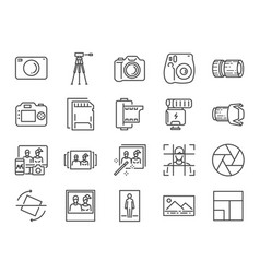 photo and camera line icon set vector image