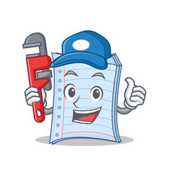 Plumber notebook character cartoon design vector
