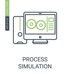 process simulation simple icon with editable vector image
