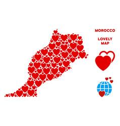 Romantic morocco map composition of hearts vector