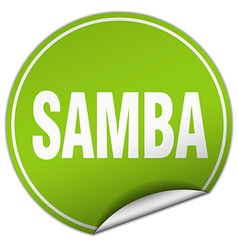Samba round green sticker isolated on white vector