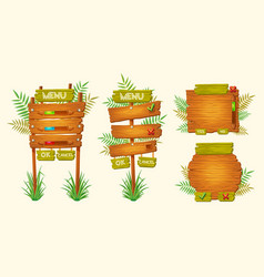 set cartoon wooden signs various vector image