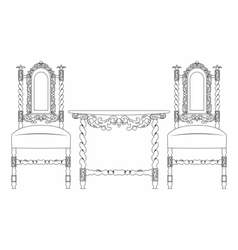 Set of classic ornamented furniture vector image