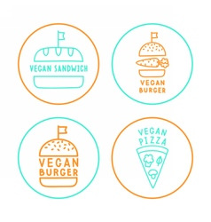 Set of linear vegan badges vector image