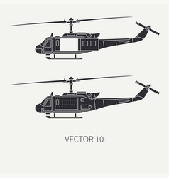 Silhouette line flat icon set military vector