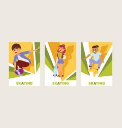 skateboarders on skateboard skateboarding vector image