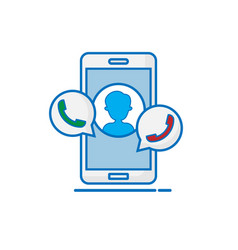 smartphone with personal contact flat design vector image