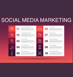 Social media marketing infographic 10 option vector
