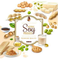 Soy food products frame background vector
