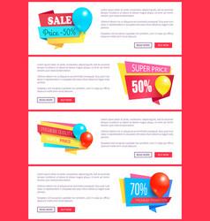 special discount weekend sale best balloons label vector image