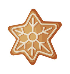 star shaped gingerbread cookie traditional vector image