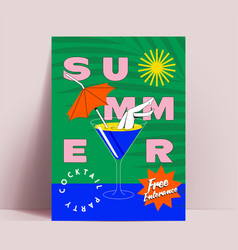 summer cocktail party flyer or poster or banner vector image