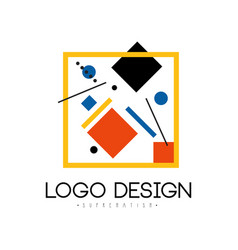 Suprematism logo design abstract geometric vector