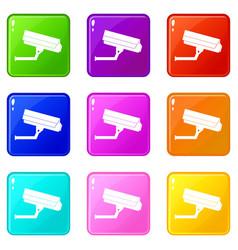 surveillance camera icons 9 set vector image