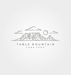 table mountain landscape line art symbol design vector image