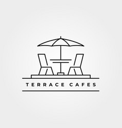 Terrace icon line art logo minimalist design vector