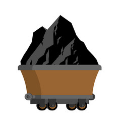 trolley of coal isolated mining extraction mineral vector image