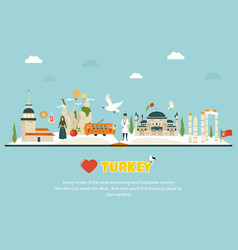 turkey concept image with landmarks and symbols vector image