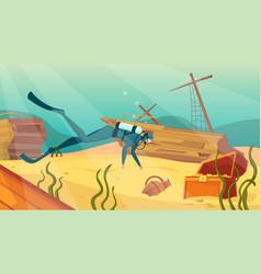 Underwater treasure hunt background vector