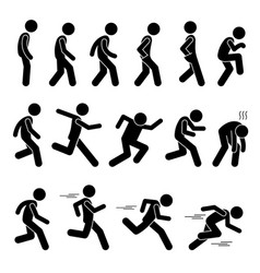Various human man people walking running runner vector