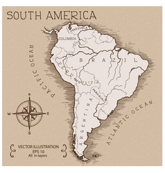 Vintage map south america vector