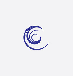 water wave letter c icon symbol vector image