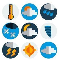 Weather flat icons set vector image