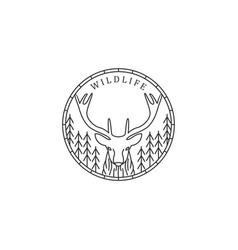 Wildlife logo lineart style deer and pine tree vector